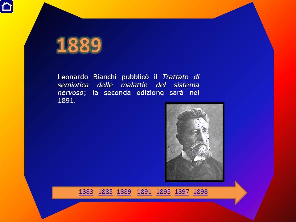 1889 Leonardo Bianchi pubblicò il Trattato di semiotica delle malattie del sistema nervoso; la seconda edizione sarà nel 1891.