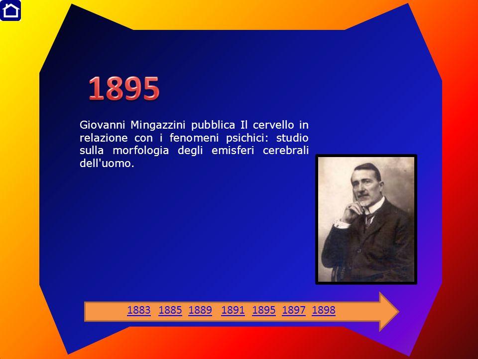1895 Giovanni Mingazzini pubblica Il cervello in relazione con i fenomeni psichici: studio sulla morfologia degli emisferi cerebrali dell uomo.