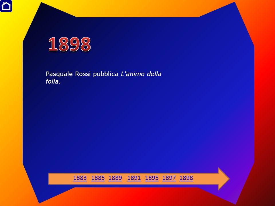 1898 Pasquale Rossi pubblica L animo della folla. 1883 1885 1889 1891 1895 1897 1898