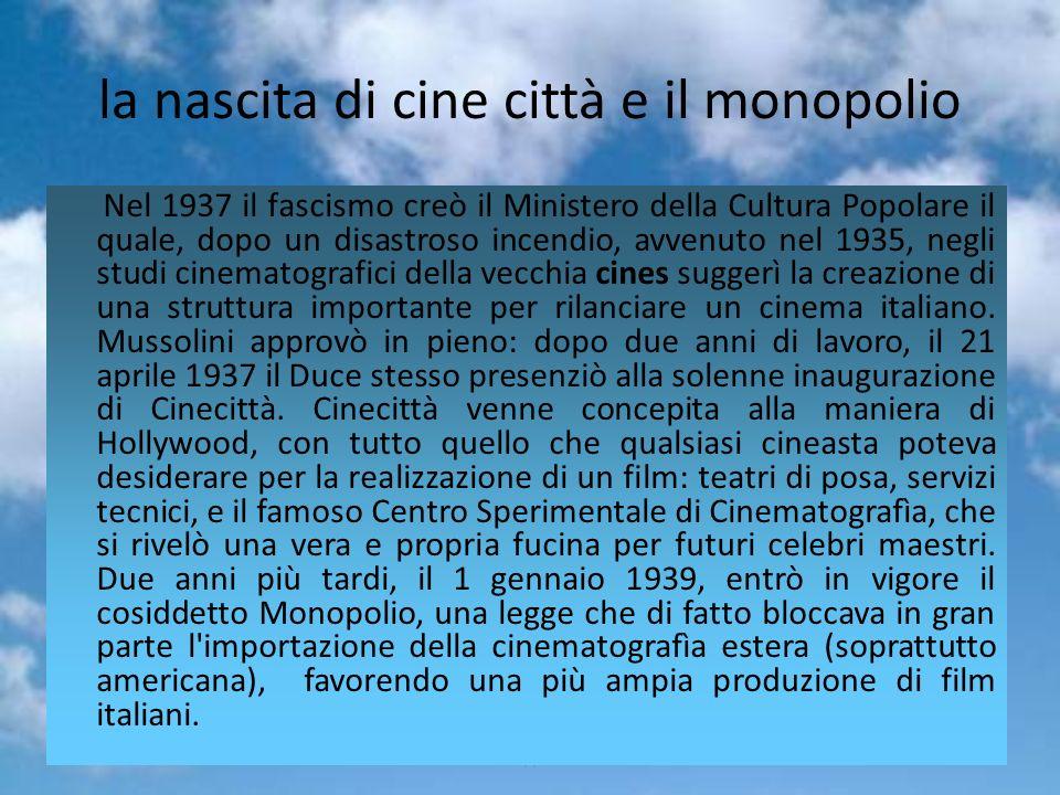 la nascita di cine città e il monopolio