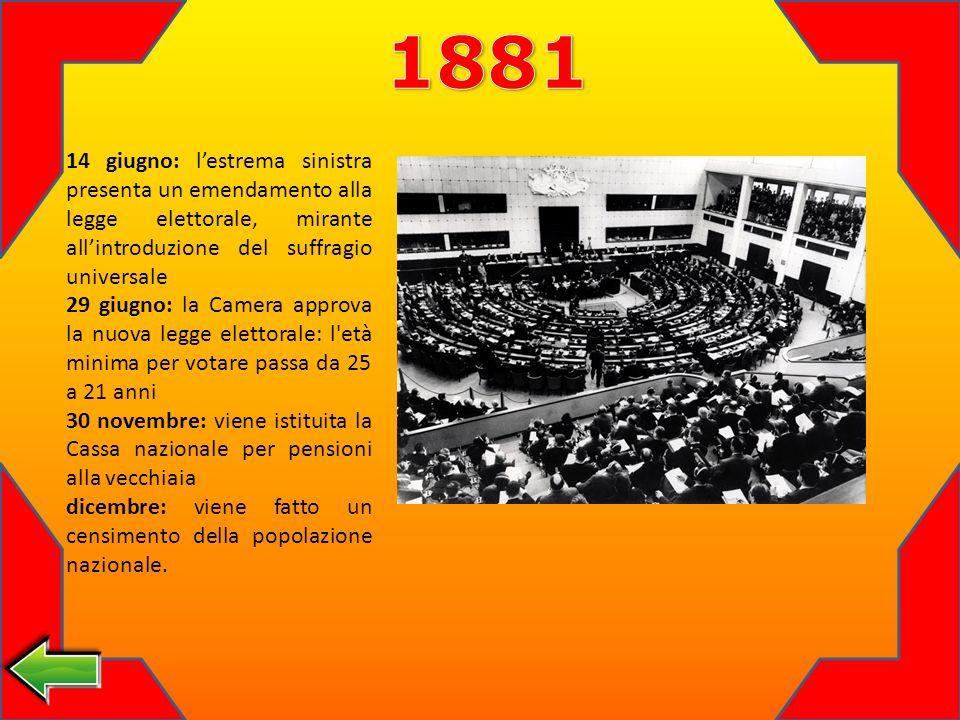 1881 14 giugno: l'estrema sinistra presenta un emendamento alla legge elettorale, mirante all'introduzione del suffragio universale.