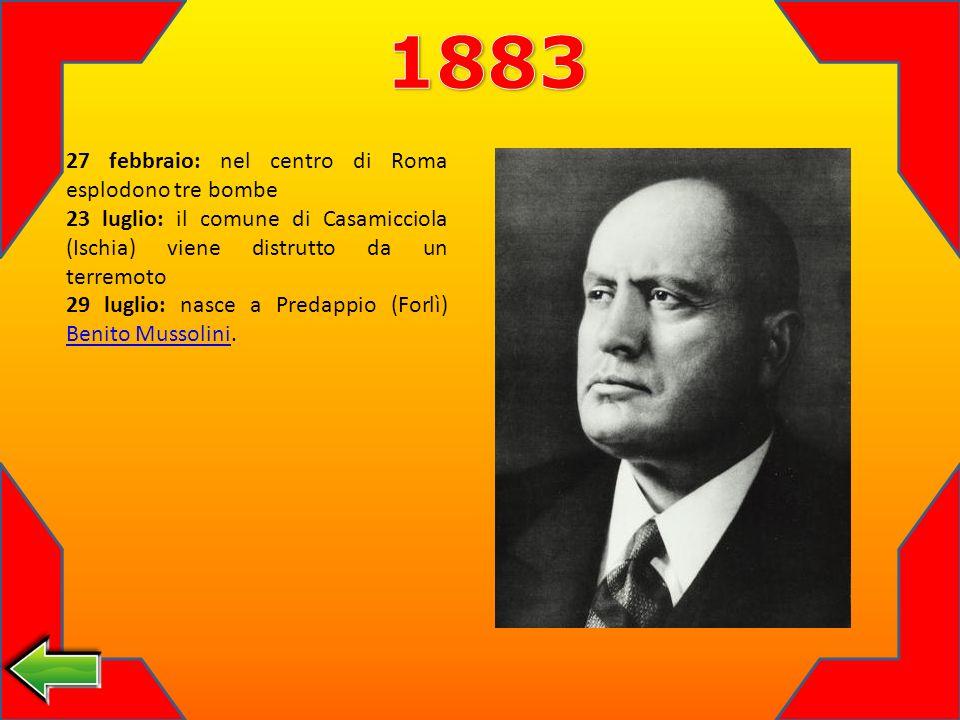 1883 27 febbraio: nel centro di Roma esplodono tre bombe