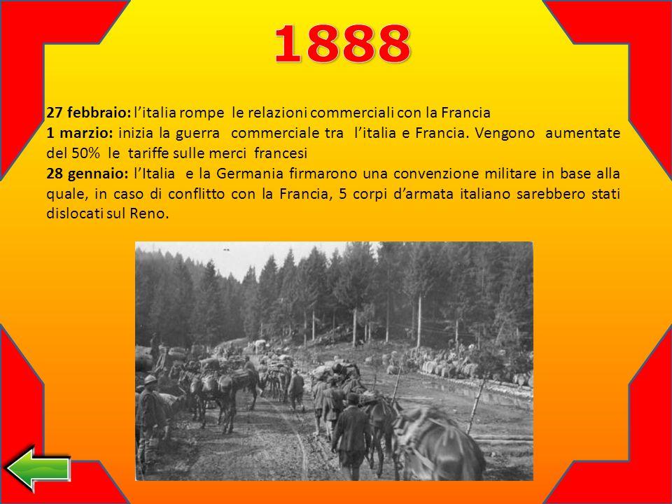 1888 27 febbraio: l'italia rompe le relazioni commerciali con la Francia.