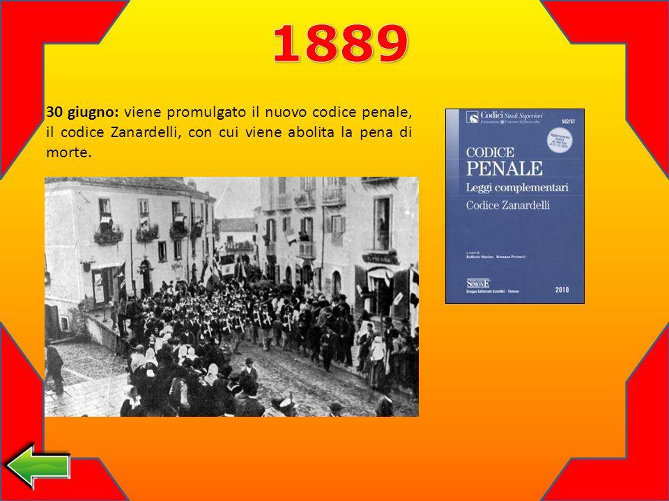 1889 30 giugno: viene promulgato il nuovo codice penale, il codice Zanardelli, con cui viene abolita la pena di morte.