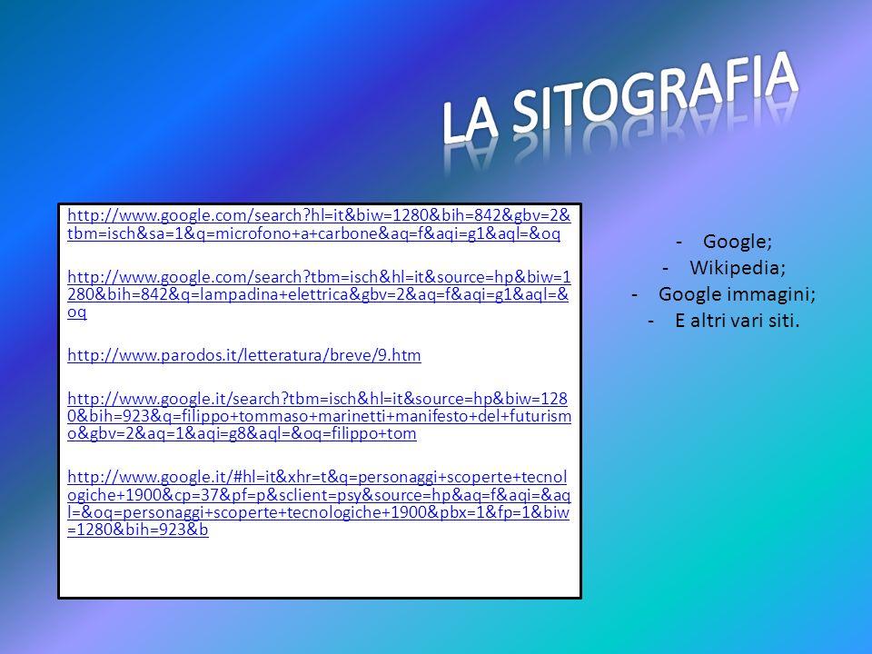 LA SITOGRAFIA Google; Wikipedia; Google immagini; E altri vari siti.