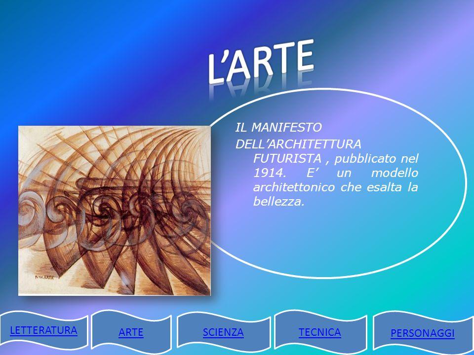 L'ARTE IL MANIFESTO DELL'ARCHITETTURA FUTURISTA , pubblicato nel 1914. E' un modello architettonico che esalta la bellezza.