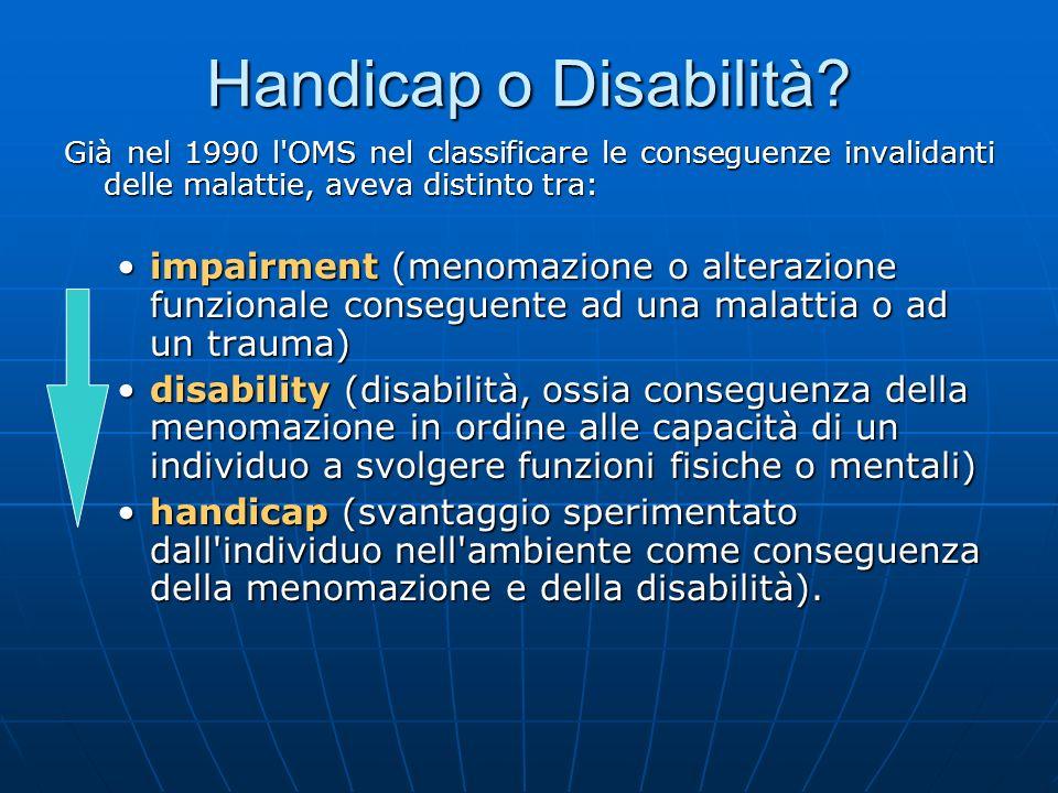 Handicap o Disabilità Già nel 1990 l OMS nel classificare le conseguenze invalidanti delle malattie, aveva distinto tra: