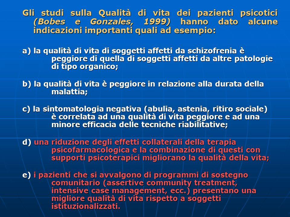 Gli studi sulla Qualità di vita dei pazienti psicotici (Bobes e Gonzales, 1999) hanno dato alcune indicazioni importanti quali ad esempio: