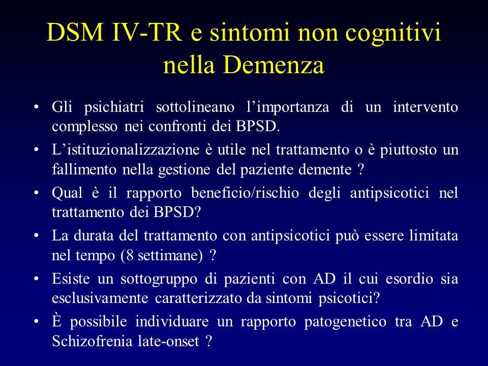 DSM IV-TR e sintomi non cognitivi nella Demenza
