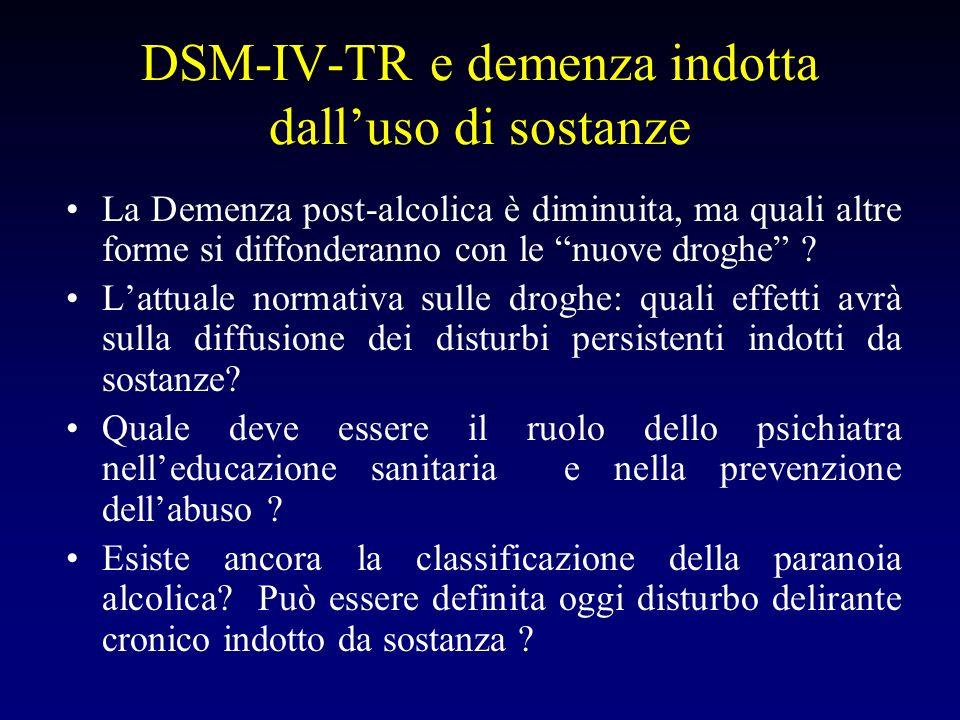 DSM-IV-TR e demenza indotta dall'uso di sostanze