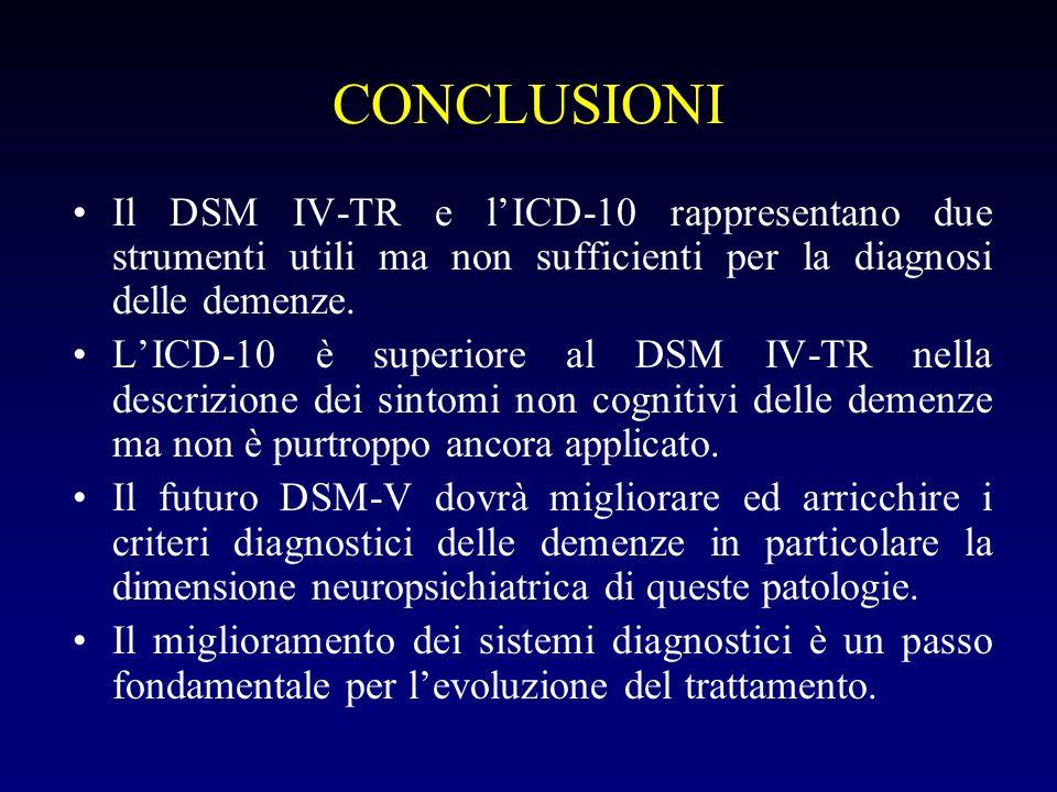 CONCLUSIONI Il DSM IV-TR e l'ICD-10 rappresentano due strumenti utili ma non sufficienti per la diagnosi delle demenze.