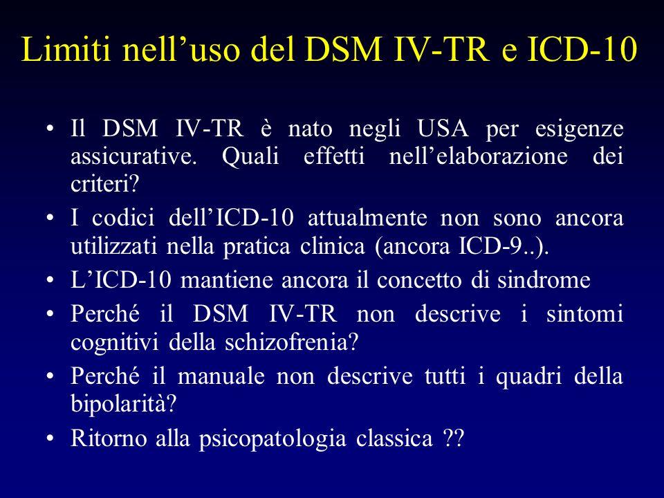 Limiti nell'uso del DSM IV-TR e ICD-10