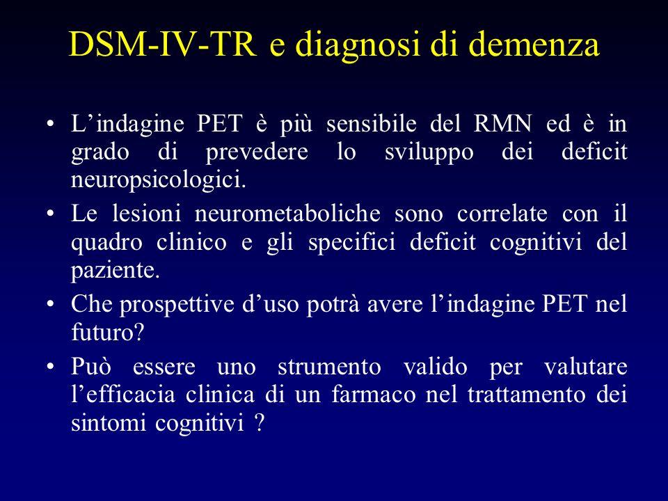 DSM-IV-TR e diagnosi di demenza