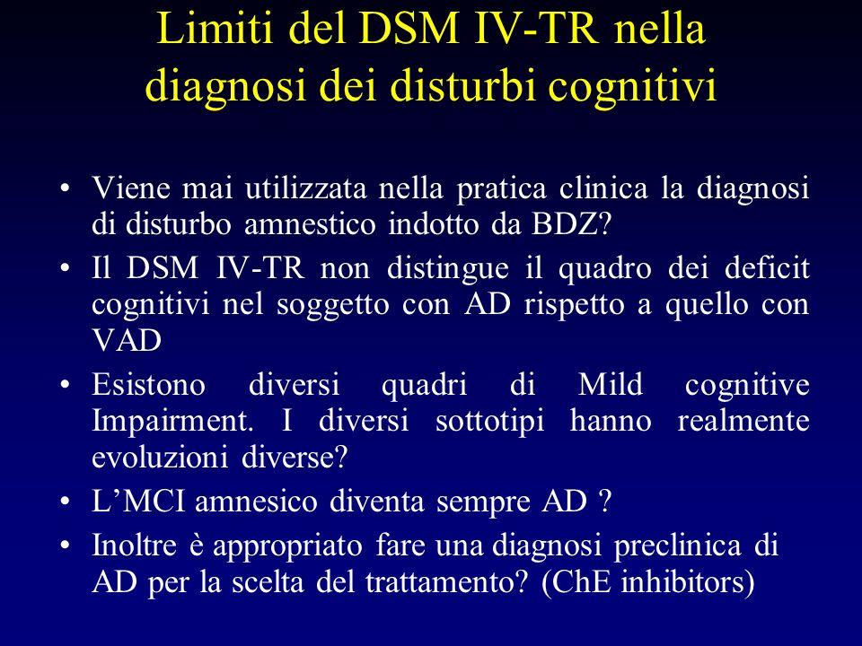 Limiti del DSM IV-TR nella diagnosi dei disturbi cognitivi