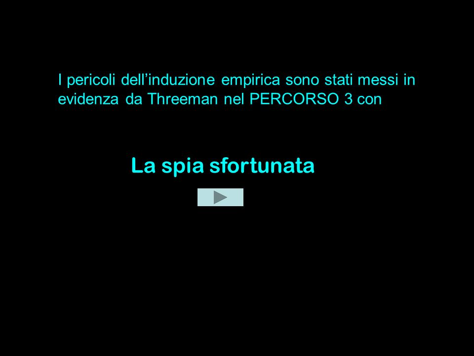 I pericoli dell'induzione empirica sono stati messi in evidenza da Threeman nel PERCORSO 3 con