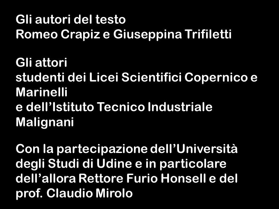 Gli autori del testoRomeo Crapiz e Giuseppina Trifiletti. Gli attori. studenti dei Licei Scientifici Copernico e Marinelli.