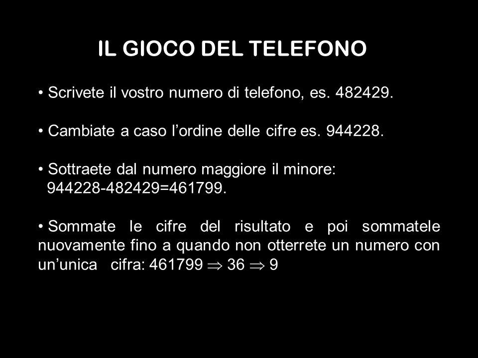 IL GIOCO DEL TELEFONOScrivete il vostro numero di telefono, es. 482429. Cambiate a caso l'ordine delle cifre es. 944228.