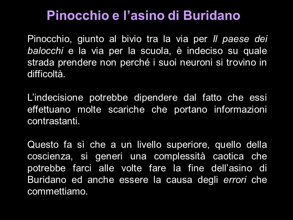 Pinocchio e l'asino di Buridano