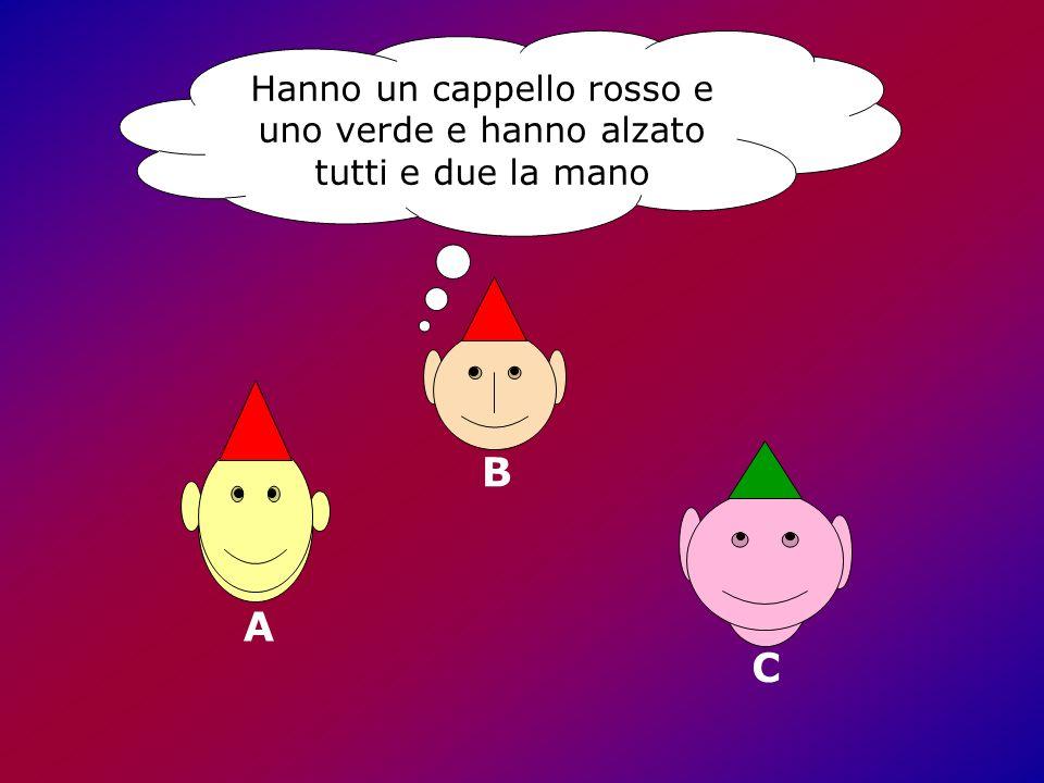 Hanno un cappello rosso e uno verde e hanno alzato tutti e due la mano