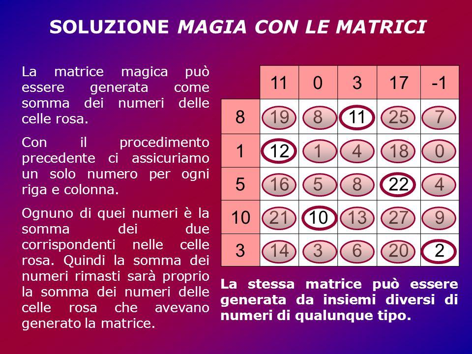 SOLUZIONE MAGIA CON LE MATRICI