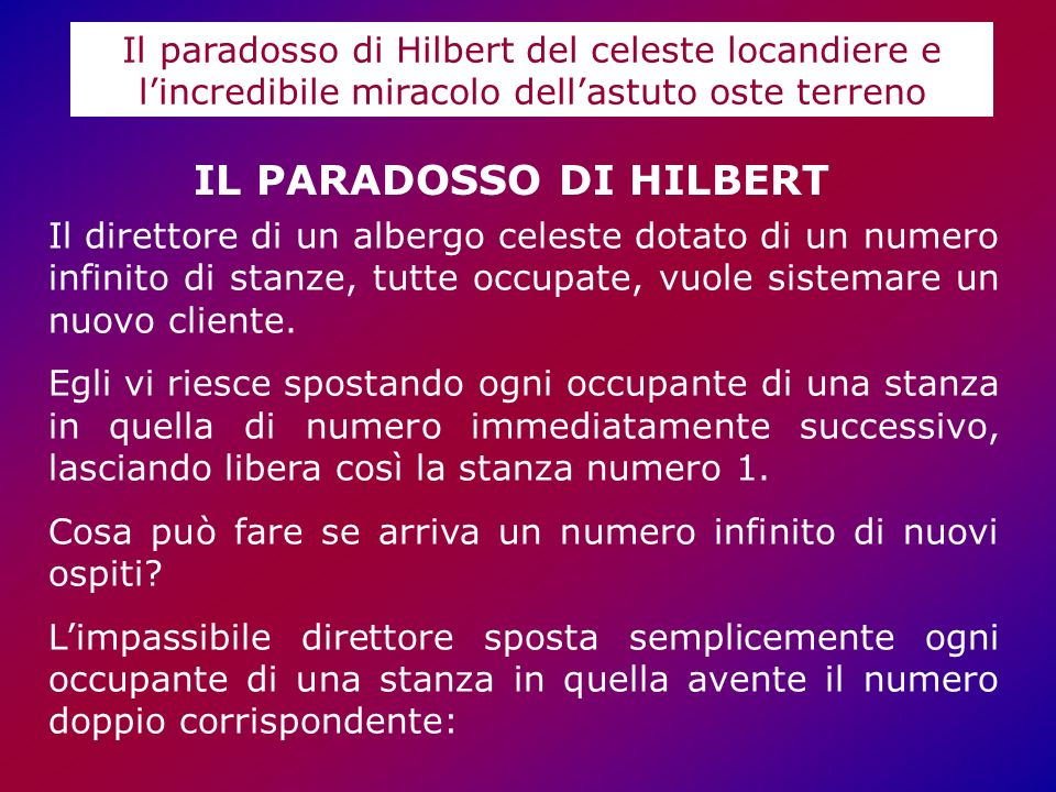 IL PARADOSSO DI HILBERT
