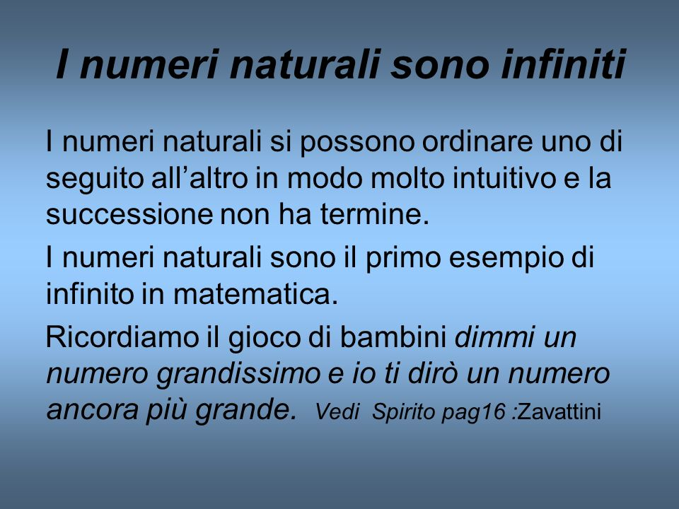 I numeri naturali sono infiniti
