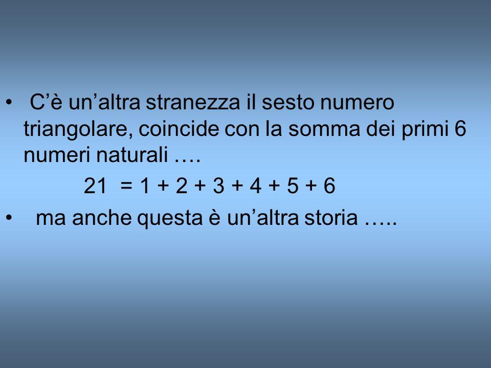 C'è un'altra stranezza il sesto numero triangolare, coincide con la somma dei primi 6 numeri naturali ….