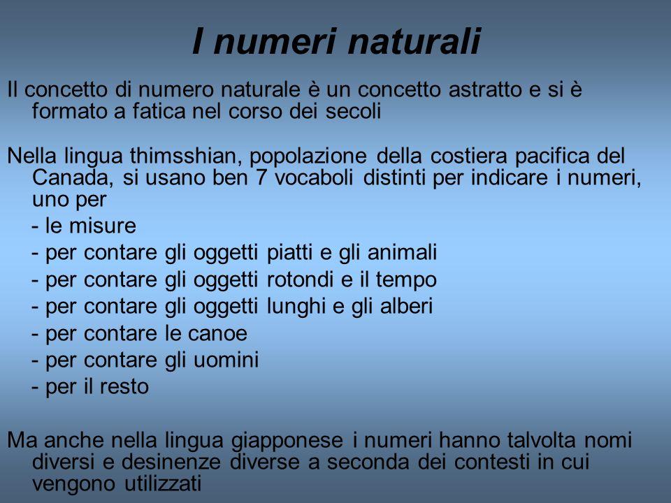 I numeri naturali Il concetto di numero naturale è un concetto astratto e si è formato a fatica nel corso dei secoli.