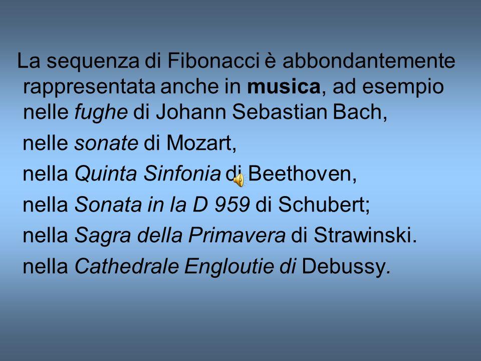 La sequenza di Fibonacci è abbondantemente rappresentata anche in musica, ad esempio nelle fughe di Johann Sebastian Bach,