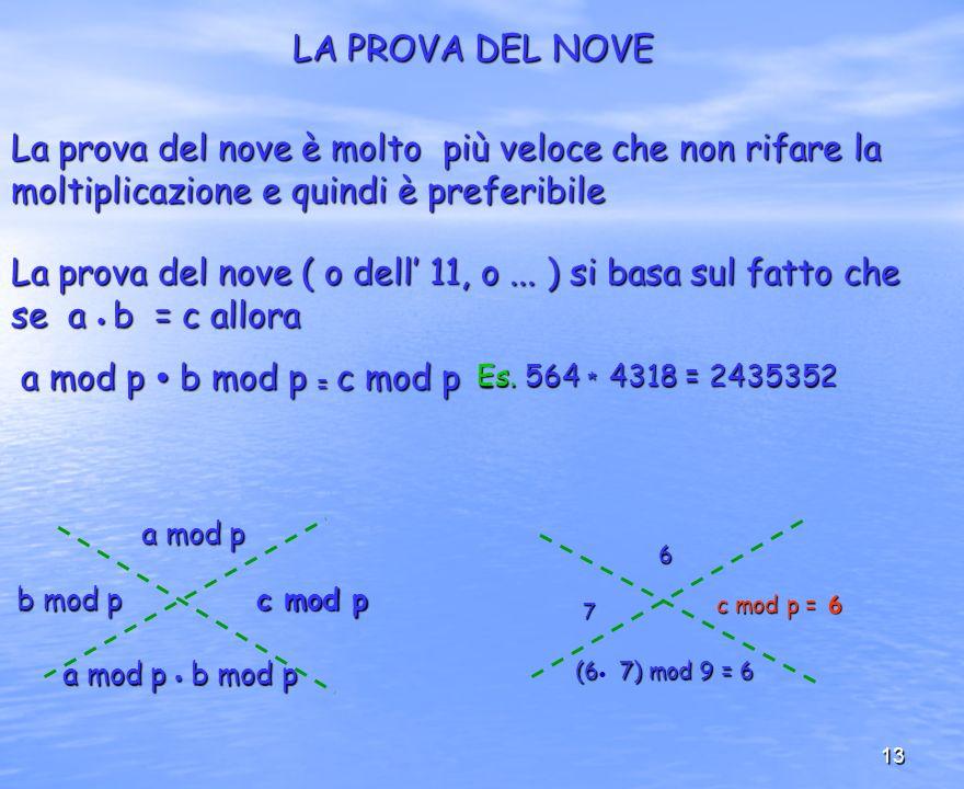 LA PROVA DEL NOVE La prova del nove è molto più veloce che non rifare la moltiplicazione e quindi è preferibile.