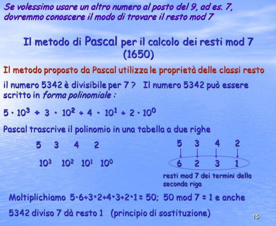 Il metodo di Pascal per il calcolo dei resti mod 7 (1650)