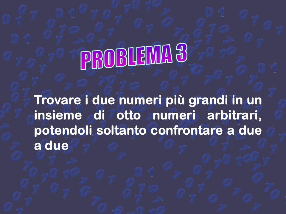 PROBLEMA 3 Trovare i due numeri più grandi in un insieme di otto numeri arbitrari, potendoli soltanto confrontare a due a due.