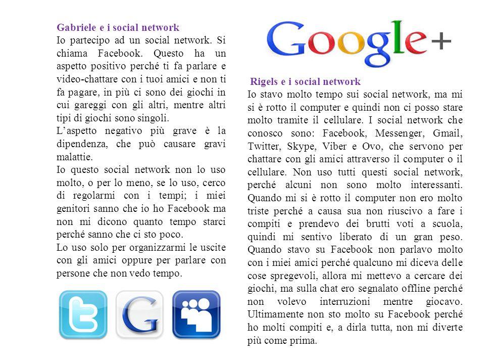 Gabriele e i social network Io partecipo ad un social network