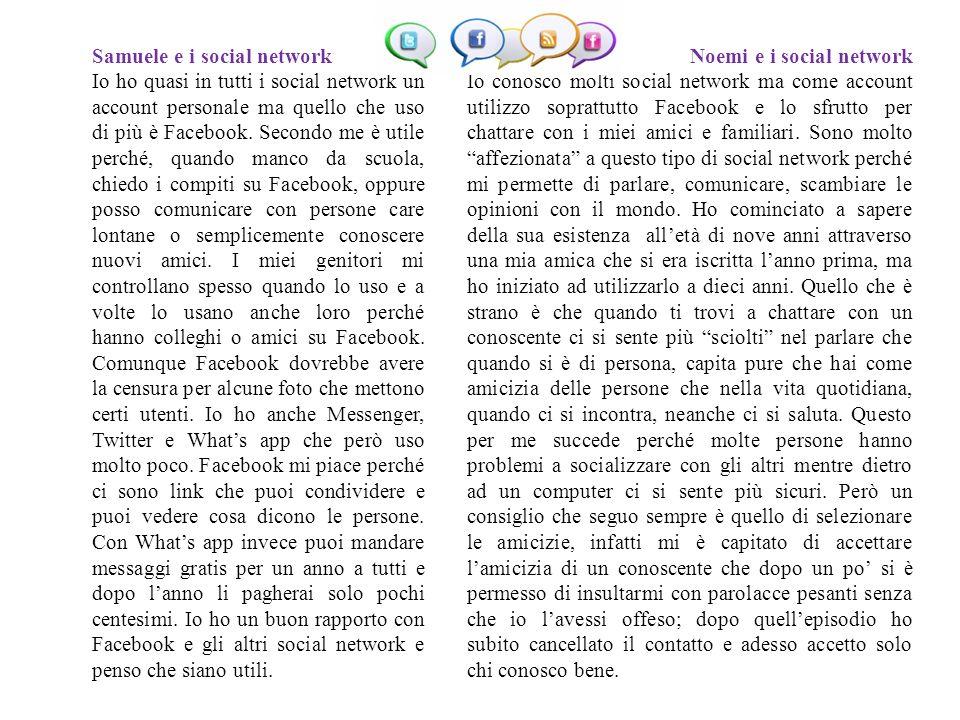 Samuele e i social network