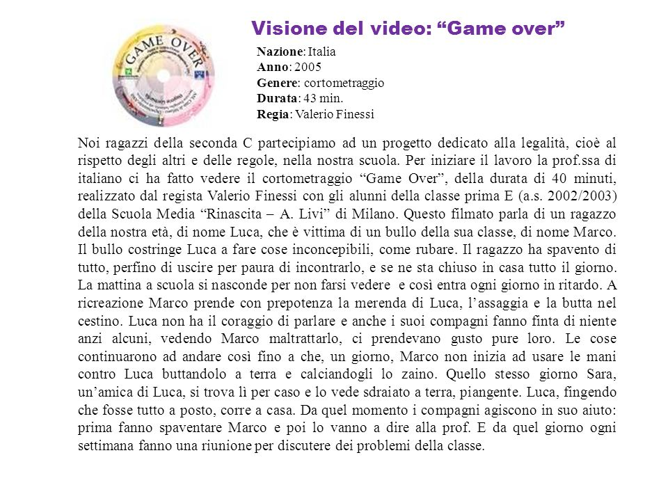 Visione del video: Game over