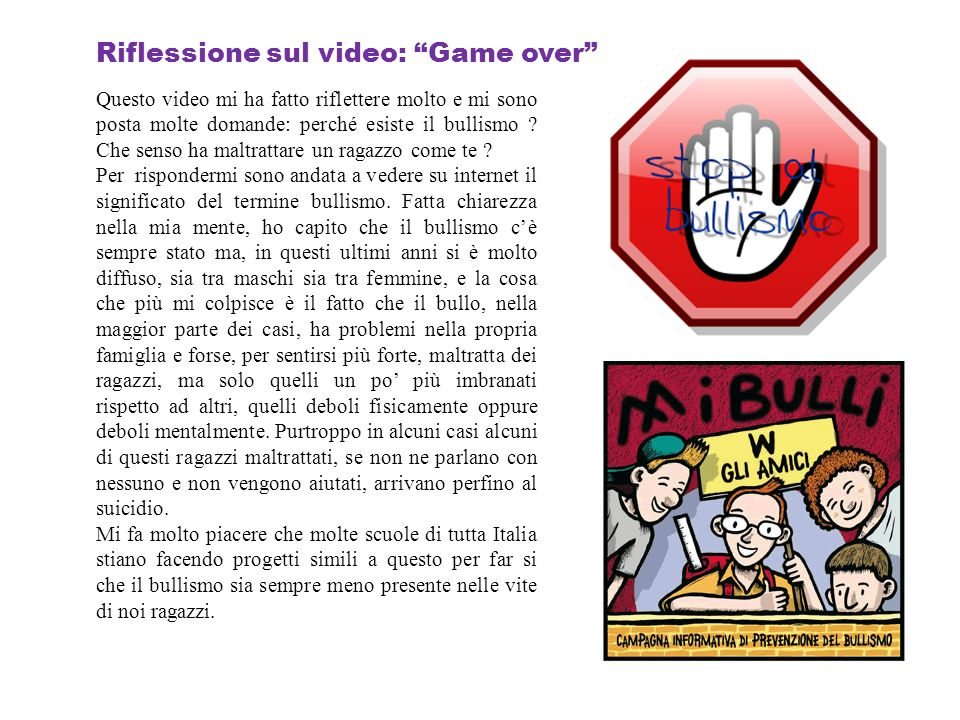 Riflessione sul video: Game over