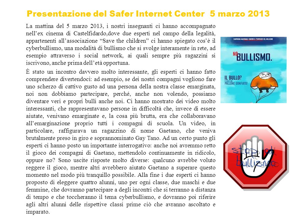 Presentazione del Safer Internet Center 5 marzo 2013
