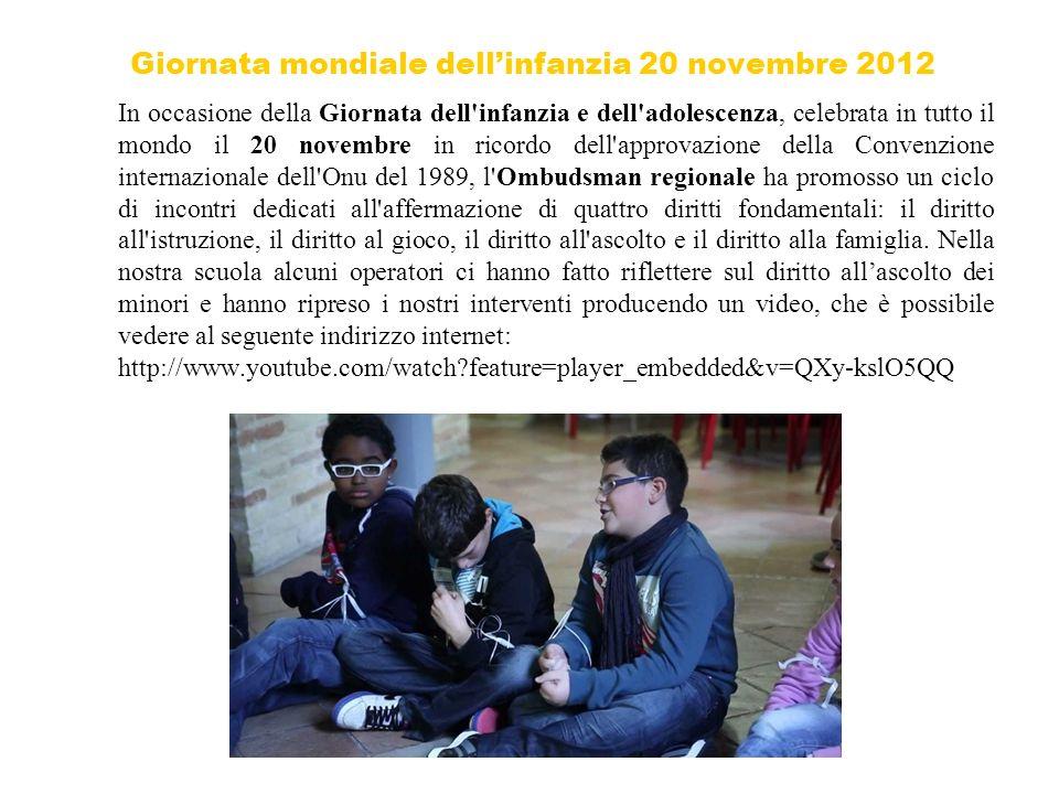 Giornata mondiale dell'infanzia 20 novembre 2012