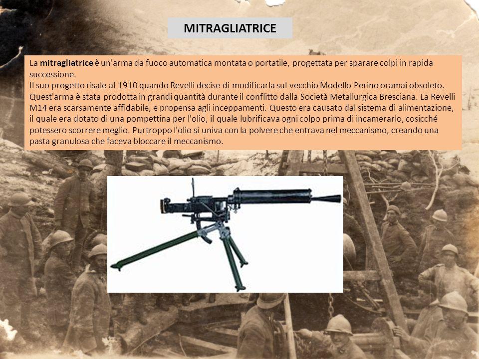 MITRAGLIATRICE La mitragliatrice è un arma da fuoco automatica montata o portatile, progettata per sparare colpi in rapida successione.