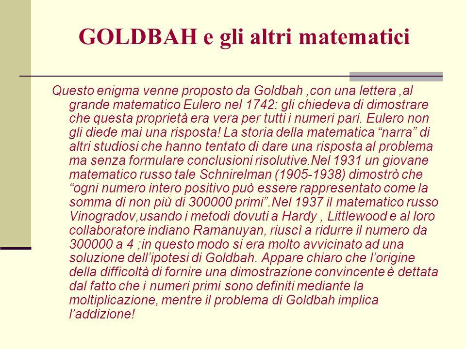 GOLDBAH e gli altri matematici