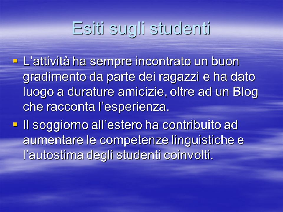 Esiti sugli studenti