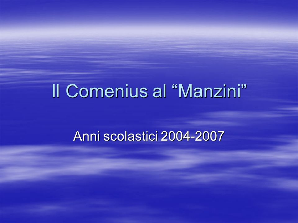 Il Comenius al Manzini