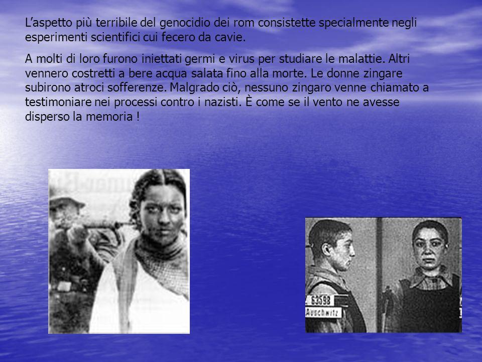 L'aspetto più terribile del genocidio dei rom consistette specialmente negli esperimenti scientifici cui fecero da cavie.