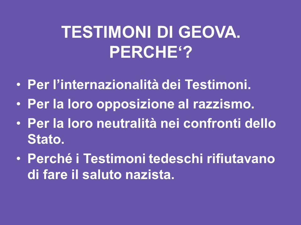 TESTIMONI DI GEOVA. PERCHE'