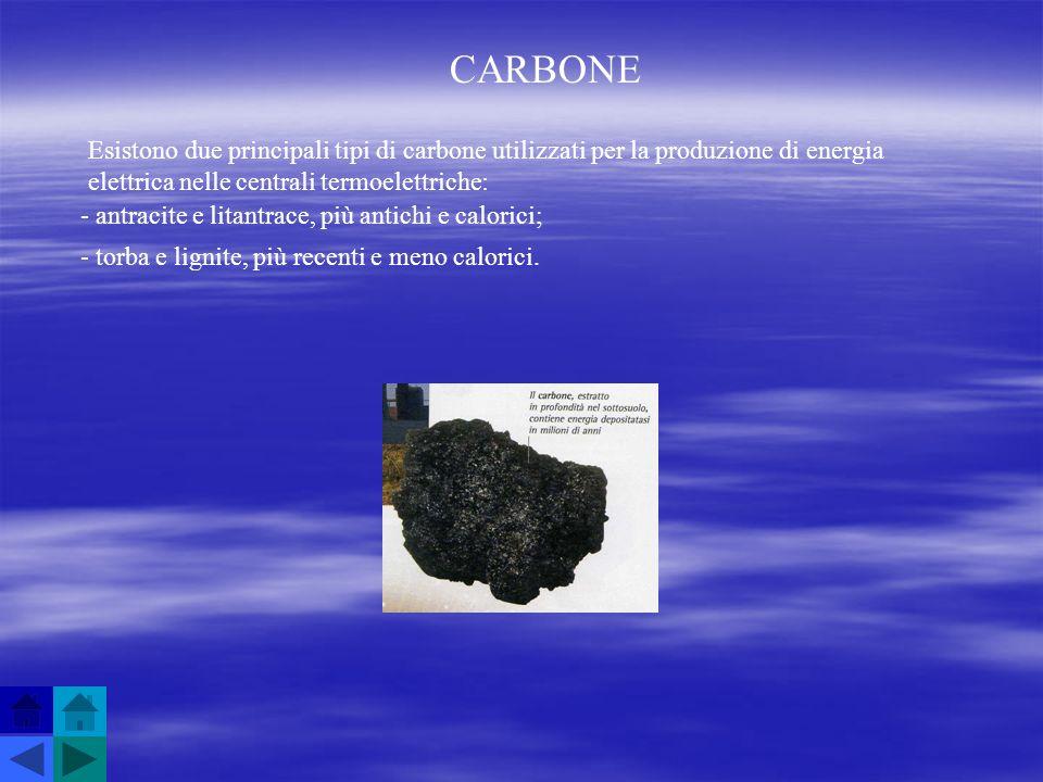 CARBONE Esistono due principali tipi di carbone utilizzati per la produzione di energia elettrica nelle centrali termoelettriche: