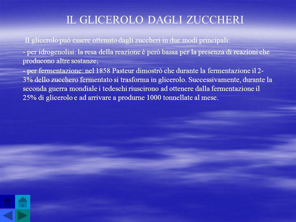 IL GLICEROLO DAGLI ZUCCHERI