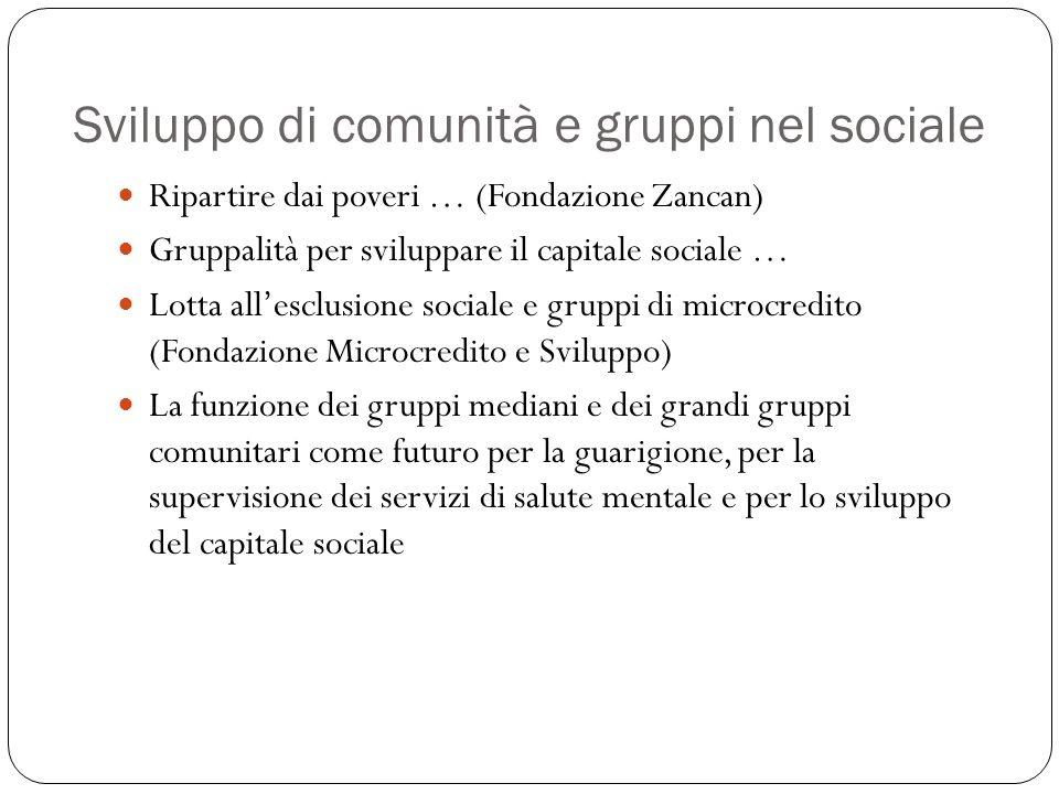 Sviluppo di comunità e gruppi nel sociale