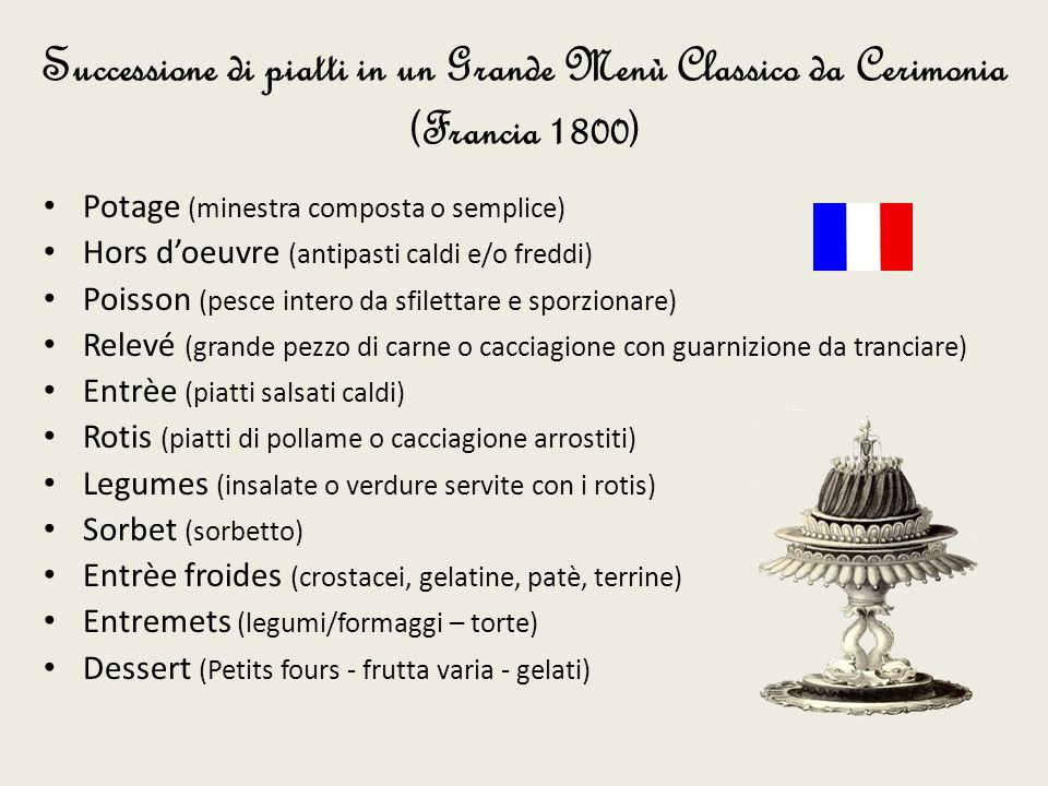 Successione di piatti in un Grande Menù Classico da Cerimonia (Francia 1800)