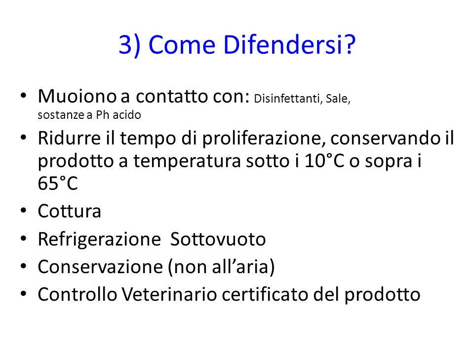 3) Come Difendersi Muoiono a contatto con: Disinfettanti, Sale, sostanze a Ph acido.