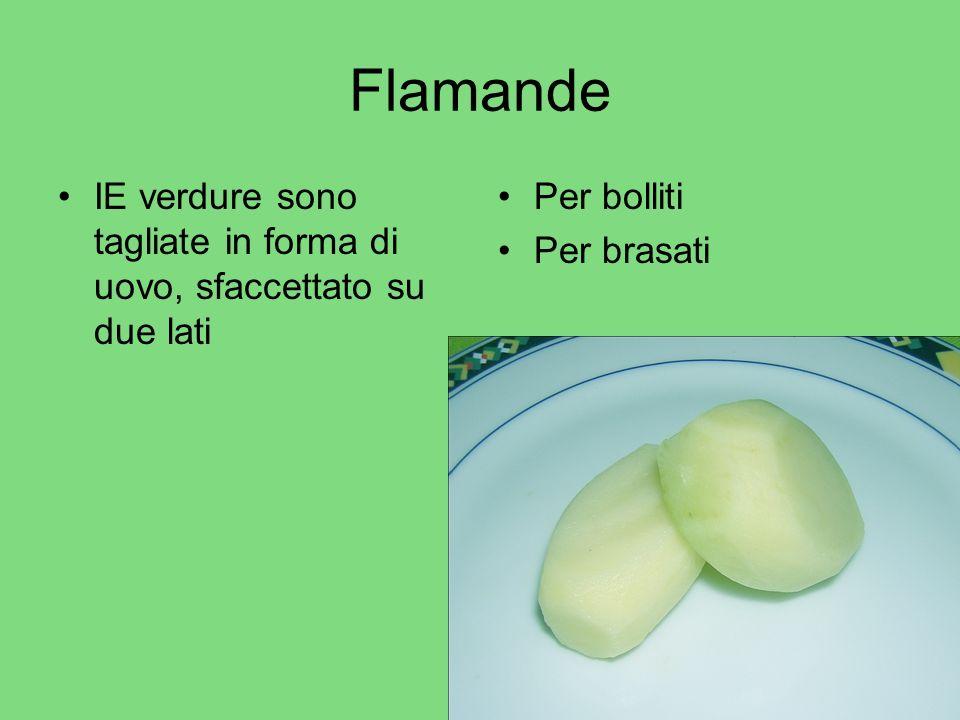 Flamande IE verdure sono tagliate in forma di uovo, sfaccettato su due lati Per bolliti Per brasati